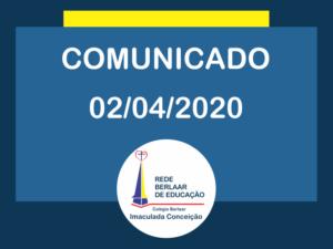 Comunicado 02 de Abril de 2020