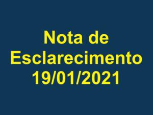 Nota de Esclarecimento – 19/01/2021